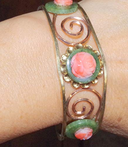 GORGEOUS HAND MADE CARVED ROSE CORAL & GREEN JADE 14K GF VINTAGE BANGLE BRACELET