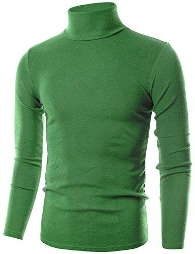 Ohoo Mens Slim Fit Flice Long Sleeve Pullover Flice Turtleneck /DCT005-LIGHTGREEN-S