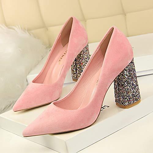 Pink Mujer Zapatos Del Boca Tacón Gruesas Los Club Lentejuelas Señaló Gamuza Baja Delgado De Con La Hoesczs Nocturno Alto EdUnxq4E6