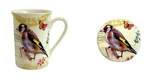 Kent Pottery - Gray and Brown Bird Botanical Coffee Tea Mug and Coaster Set
