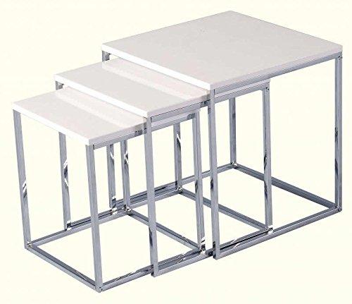 Home Essentials Inc High White Gloss Finish Nest Of Tables Modern Charisma Range