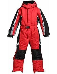 One-Piece Winter Snowsuit for Boys Girls Waterproof Windproof Wear-Resistant Reflective Stripe