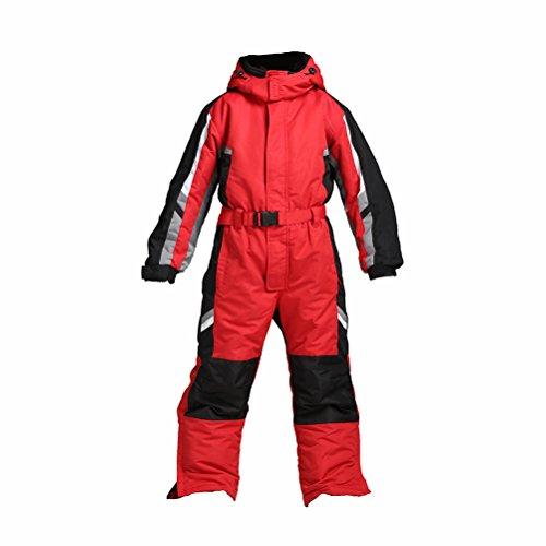PRESELF@ One-Piece Winter Snowsuit for Boys Girls Waterproof Windproof Wear-Resistant Reflective Stripe (Red, 8)