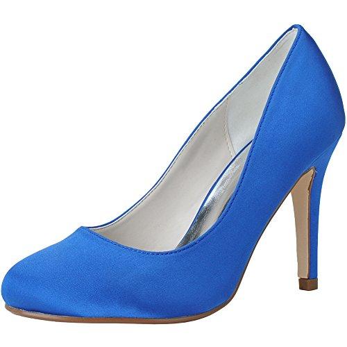 Loslandifen Femmes Pompes De Mariage Bout Rond Satin Talons Hauts Robe De Mariée Chaussures Bleu