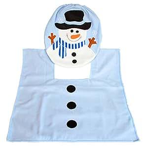 genluna 2pcs Set muñeco de nieve decoración de Navidad tapa de inodoro y alfombra baño Set