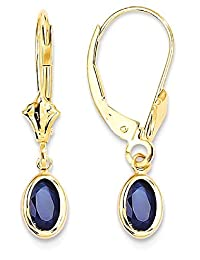 IceCarats 14k Yellow Gold 6x4 Oval Bezel September/sapphire Leverback Earrings Lever Back For Women