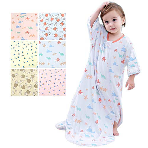 GEX Baby Sleep Sack 100% Cotton Wearable Blanket Baby Sleeping Bag Winter Blue Animal Park 80 (3mos-6.5year) ()