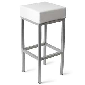 Taburete de Bar cuboide blanco   Taburete de Bar comercial, 4 patas de madera de taburete de Bar   Taburete de Bar de piel sintética, Kitchen taburete de Bar, taburete de Bar de
