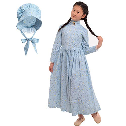 GRACEART Pioneer Costume Colonial Prairie Dress for Girls 100% Cotton (Cream Blue,size-10)