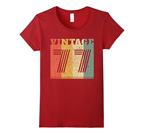 Womens 40th Vintage Retro Birthday Gift 1977 T-Shirt Large Cranberry
