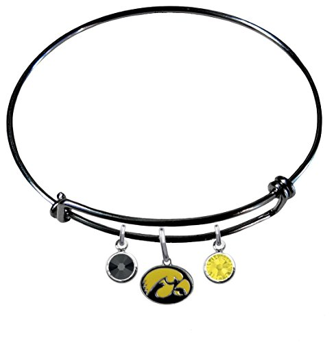 Iowa Hawkeyes BLACK Expandable Wire Charm Bracelet Bangle w/ Team Color Crystals
