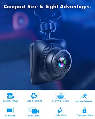 Dash Cam Car Camera Recorder FHD 1080P Front and Rear Cameras,Driving Loop Recording,2.2 Inch LCD Screen 170 Wide Angle, WDR,Night Vision, G-Sensor, Motion Detection, Parking Monitor