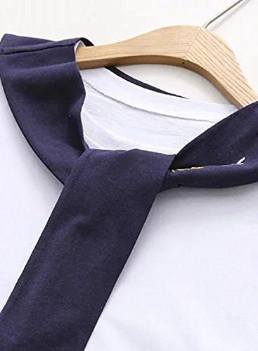 Azbro Mujer Camiseta Suelta Cuello Marinero con Mangas Cortas Blanco