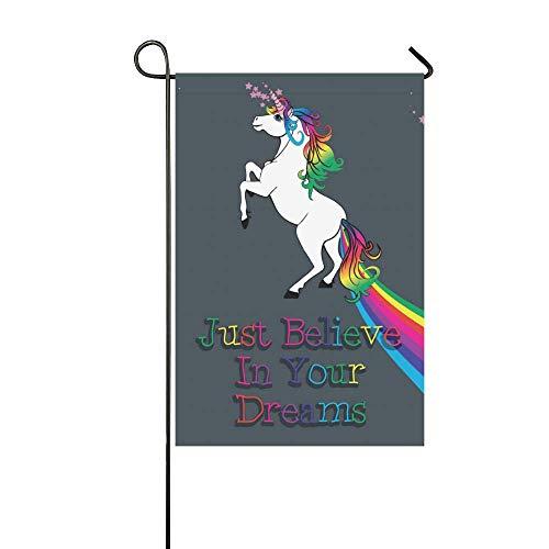 InterestPrint Garden Flag Banner Unicorn Dream Decorative Ho