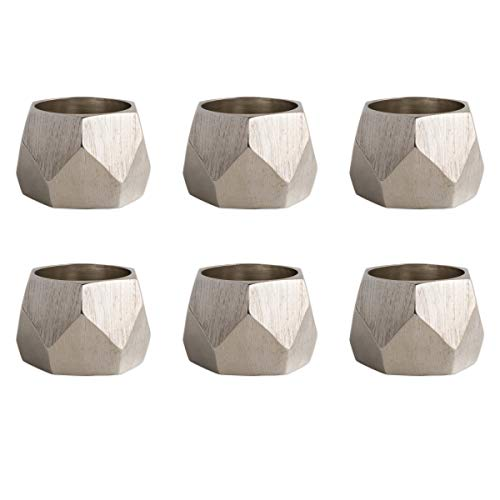 Design Imports CAMZ10242 Silver Triangle Band Napkin Ring - Set of 6 Design Wide Band Ring