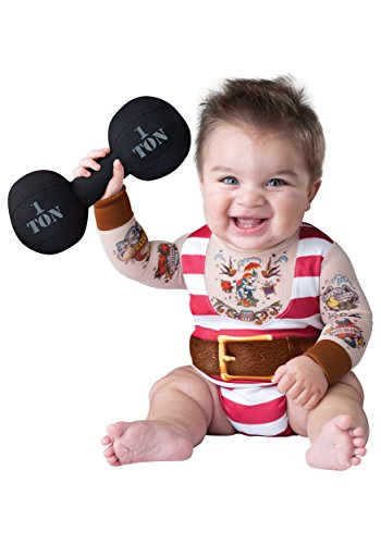 (InCharacter Costumes Baby Boys' Silly Strongman Costume, Red/White,)