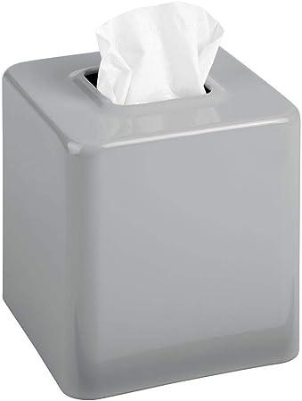 mDesign Fundas para cajas de pañuelos de metal – Práctico dispensador de pañuelos para el baño o la oficina – Modernas cajas para pañuelos de papel ideales como fundas – gris: Amazon.es: Hogar