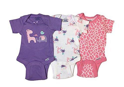 Gerber Baby Girls Onesies Bodysuits 3 Pack Purple Animals 0-3 Months