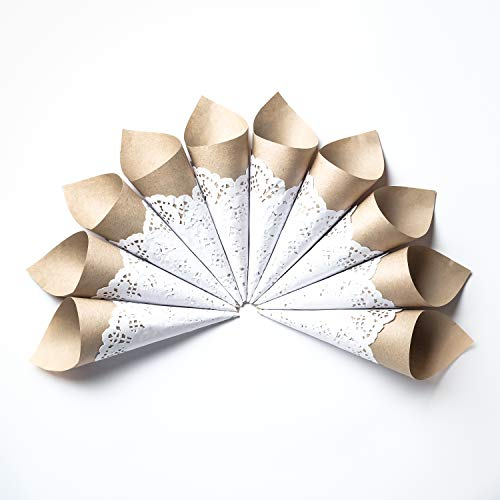 (Craft Paper Petal Cones for Wedding, Already Rolled Set of 100 Cones. Craft Paper + White Paper Cones)