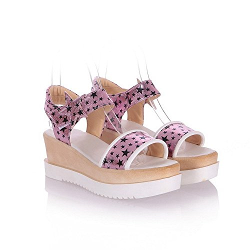 AllhqFashion Women's Hook And Loop Kitten Heels Pu Assorted Color Open Toe Sandals Pink WEg9F8