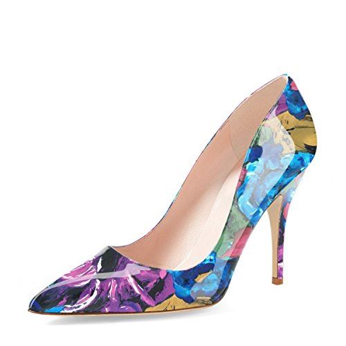 YDN Women's Chic Pointed Toe Mid Heel Pumps Polka Dots Slip on Stilettos Shoes for Party Purple Floral 12