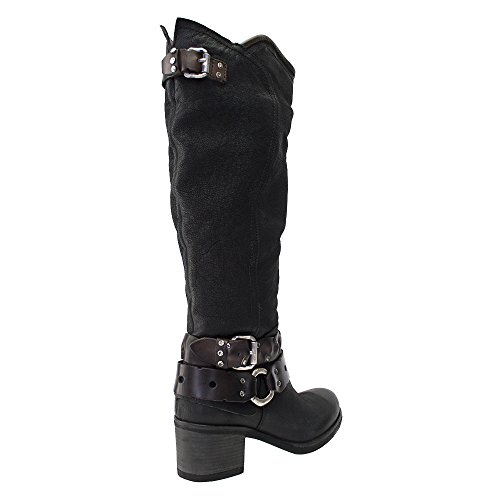 8100 Melrose Black Leather Zippered Boot W/Double Belt Black uk4ectqN