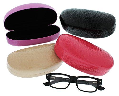 Evolution Eyes Hard Clamshell Sunglass and Eyeglass Fashion Design Case, Fits All Frames, Nude Crocodile