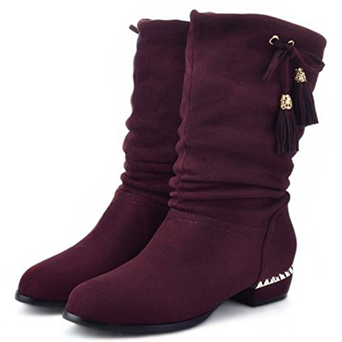 COOLCEPT Women Fashion Slouch Mid Calf Boots Faux Suede with Fringe Wine Red TqJUqTLnL