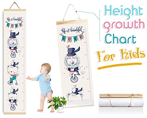 Baby Growth Chart for Boys and Girls, Height Measure Ruler for Kids, Canvas Room Accessories Decoration for Babies Calculator Chart Wall (24x120cm) (Unicycle) ()