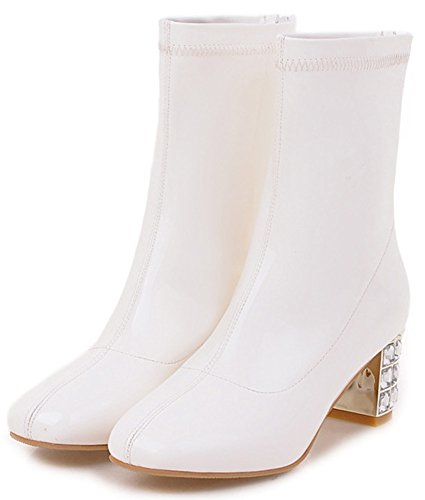 Heeled Toe Mid Booties Square Calf Women's Zip Up Easemax White Mid Chic Chunky Pz8BqnwYx