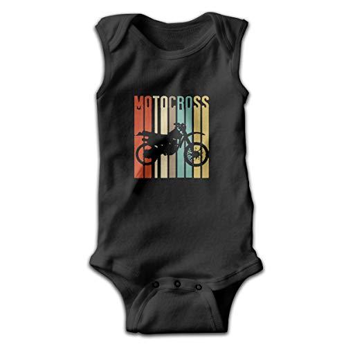 (Cool Vintage Motocross Dirt Bike Silhouette Baby Bodysuits Sleeveless for Unisex Boys Girls)