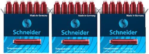 3 boxes of 6 Black 18 Total Cartridges 36601 Schneider Fountain Pen Ink Cartridge