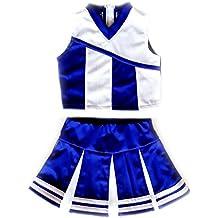 American Mini Kids Girl Cheerleader Outfit Uniform Costume Cosplay Karneval Blue/White