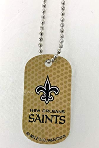 Mirror Mania New Orleans Saints NFL Football Dog Tag Chain Personalized Free Engraved Custom Name On Back - a Chain, Keychain, Luggage tag, or Clip on Backpack or Bag.