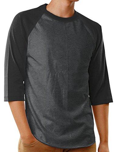 Hat and Beyond Mens Baseball Raglan 3/4 Sleeves T Shirts Casual Cotton Jersey S-3XL (Large, Charcoal/Black) 3/4 Sleeve Cotton Hat