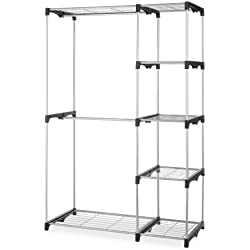 Whitmor Double Rod Closet, Freestanding Silver / Black