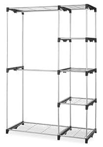 Whitmor Double Rod Closet, Freestanding Silver / Black