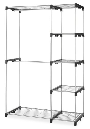 Whitmor Double Rod Closet, Freestanding Silver / Black (Closet Options)