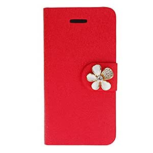 Mini - Shimmering Silk Print PU Full Body Case with White Diamond Flower Button and Card Slot for iPhone 5C , Color: Rose