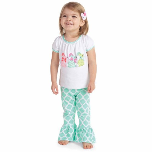 Mud Pie Easter Bunny Legging Set for Baby and Toddler Girls