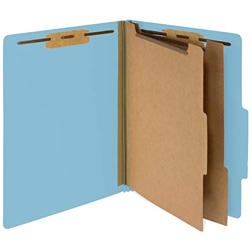 (10 Blue Classification Folders- 2 Divider-2'' Tyvek expansions- Durable 2 Prongs Designed to Organize Standard Medical Files, Law Client and Office Files– Letter Size, Light Blue, 10 Pack (-327))