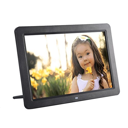 YKS Digital Picture Frame 12 inch HD Muitifunctional Frame With Wireless Remote TFT LED 1280x800 High-Resolution Wide Screen View Pictures Listen to Music Black
