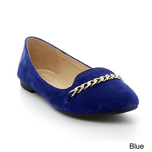 Refresh Stacy-02 Dames Ketting Detail Slip Op Flats Loafer Flats R.blue 8.5