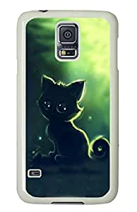 Brian114 Samsung Galaxy S5 Case, S5 Case - Customized White Hard Back Case Cover for Samsung Galaxy S5 Black Kitty Top Quality Hard Case for Samsung Galaxy S5 I9600