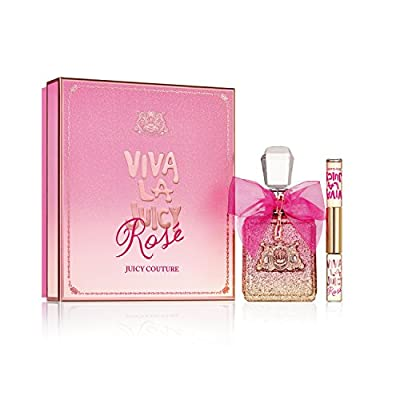Juicy Couture Viva La Juicy Rosé 2 Piece Perfume Gift Set, includes 3.4 oz perfume spray and dual-sided Viva La Juicy Rosé & Viva La Juicy Rollerball perfumes for women