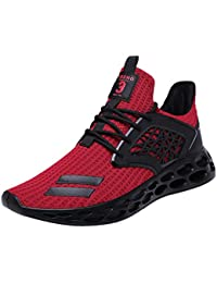 Mens Trainers Gym Running Shoes Lace-Up Lightweight Breathable Walking Sport Sneakers Shock Absorbing Shoes