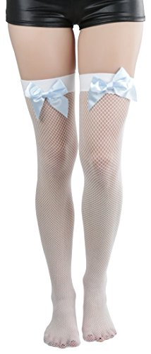 c753b19ad ToBeInStyle Women s Fishnet Thigh High With Satin Bow Stockings Tights  Hosiery