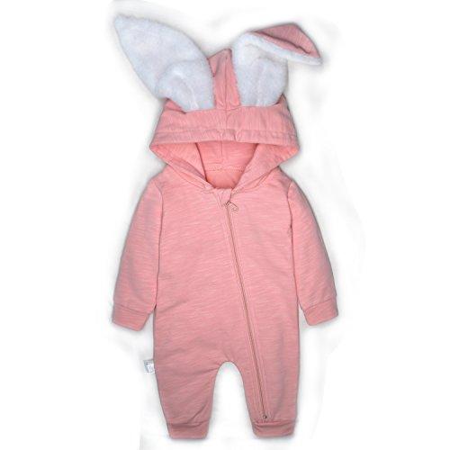 (Minilove Baby Rabbit 3D Ear Hoodie Jumpsuit(Pink(R)) 100/18M)