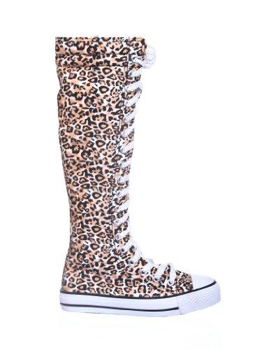 Zapatillas De Lona Con Puntera Plana Para Mujer Con Cordones En Las Rodillas Blancas / Marrones