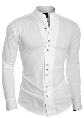 D&R Fashion de los Hombres Estilo Moderno Camisa Cuello con puños único y Grandad, Japón, Blanco, Mediano